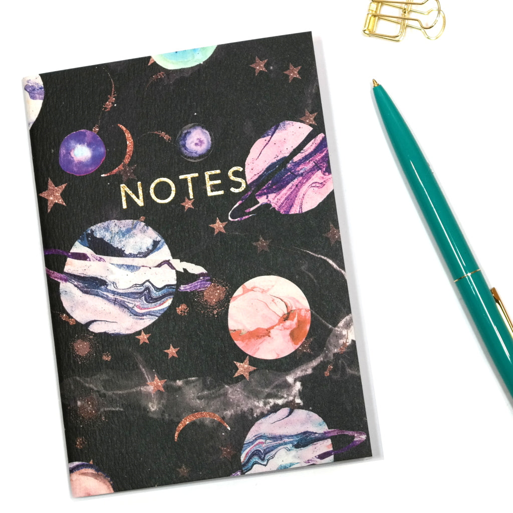 A6 Marble Galaxy Planet Print Notebook Cover