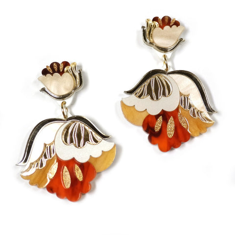 gold acrylic floral statement earrings by rosa pietsch
