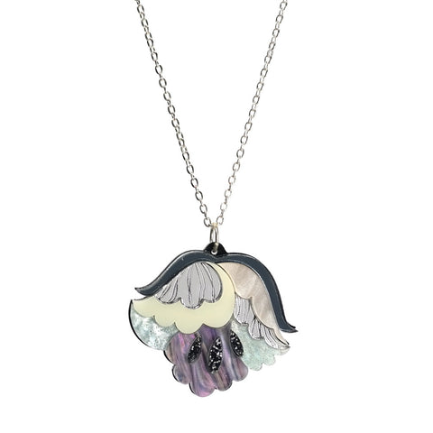 acrylic Flower Pendant Necklace in Mother of Pearl effect