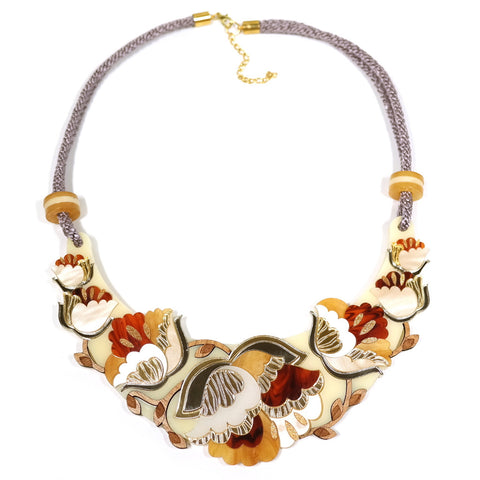 intricate acrylic art nouveau inspired floral statement necklace