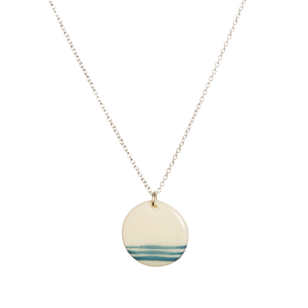 White Porcelain Necklace with Blue Line Design
