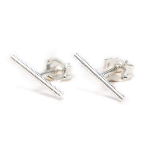 simple bar stud earrings in silver
