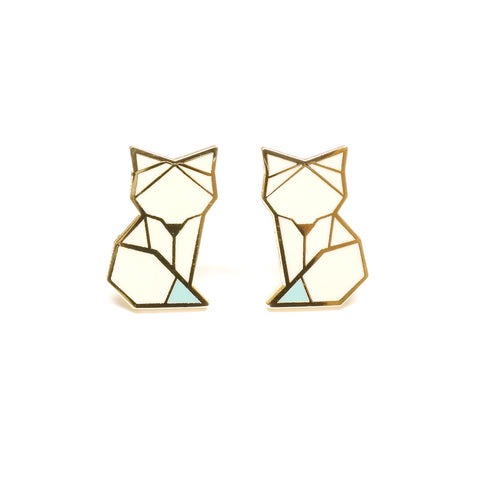 cute origami inspired enamel arctic fox enamel stud earrings