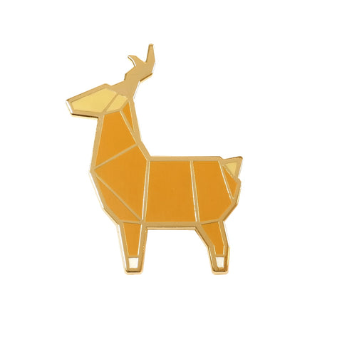 stag deer origami inspired enamel metal pin brooch