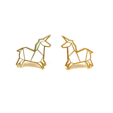 cute white unicorn enamel stud earrings