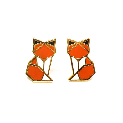 orange white origami inspired fox enamel stud earrings