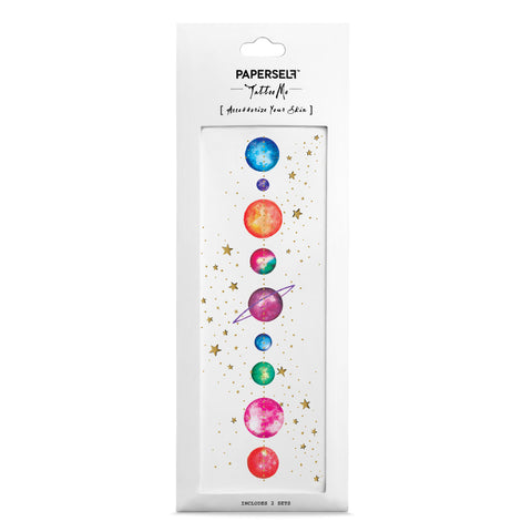 temporary tattoo colourful planets and stars packaged image