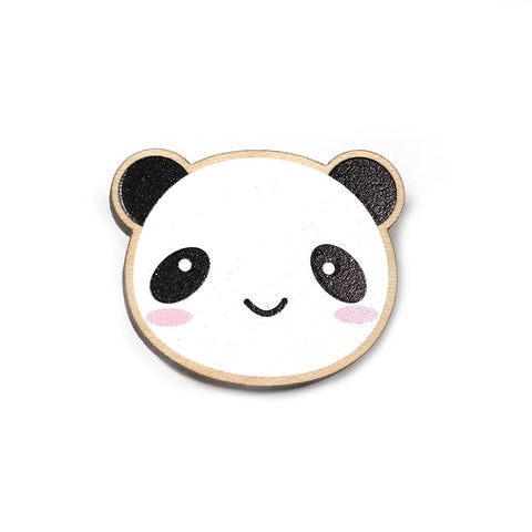 wooden happy panda brooch by asking for trouble