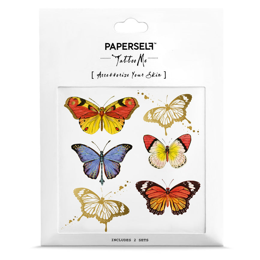 colourful butterfly temporary tattoo set