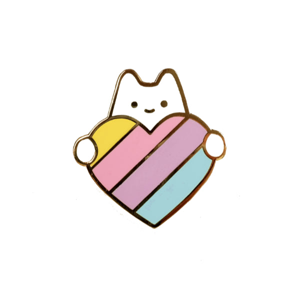 Sparkle Collective pastel rainbow heart held by cute white cat pin