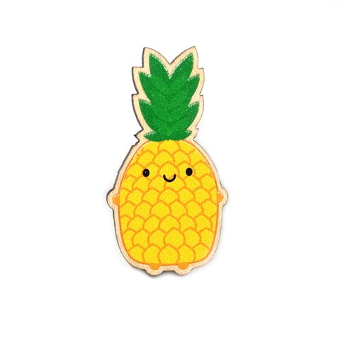 wooden pineapple brooch with smiley fave by asking for trouble