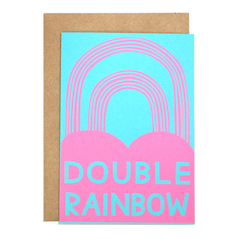 double rainbow screenprinted card with envelope