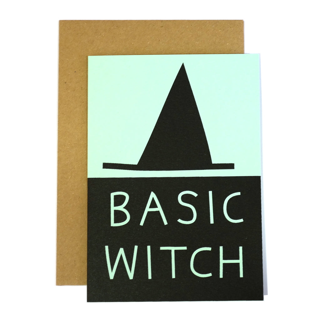 basic witch hat greetings card mint and black with kraft envelope