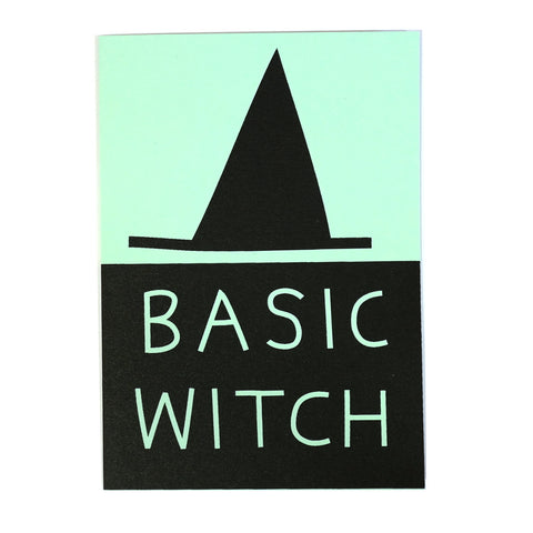 basic witch hat greetings card mint and black