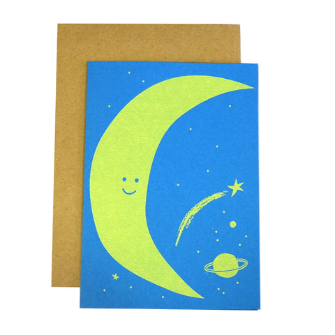 blue and yellow friendly moon smiling crescent planets and stars greetings card
