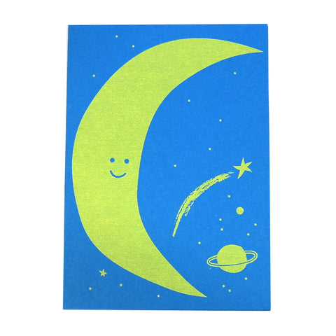 friendly moon smiling crescent planets and stars greetings card