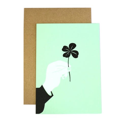 lucky clover black white mint greetings card with envelope