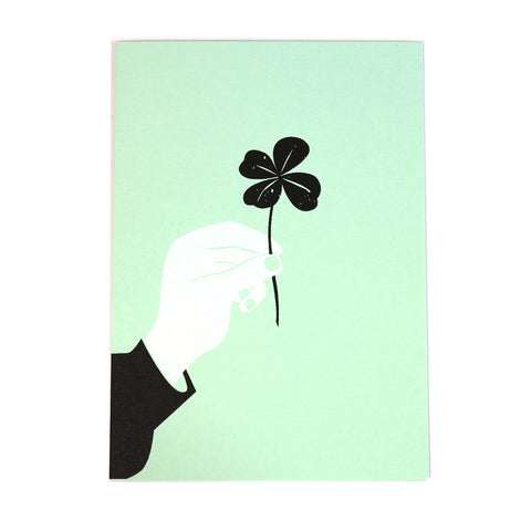 lucky clover black white mint greetings card
