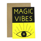 black and yellow magic vibes eye greetings card with envelope