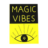 black and yellow magic vibes eye greetings card