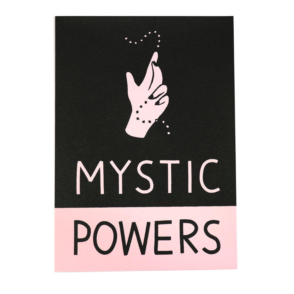 mystic powers hand spell greetings card in pink and black