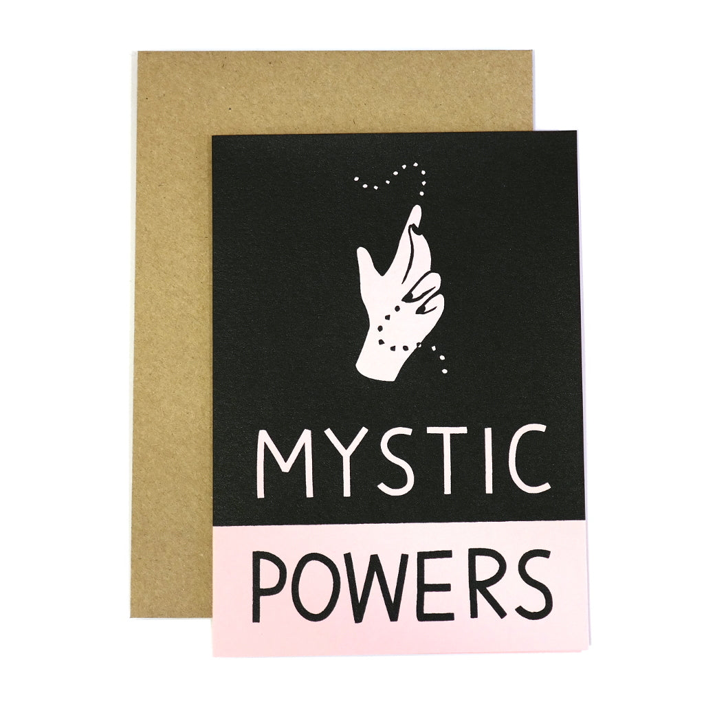 pink and black with envelope mystic powers hand spell greetings card