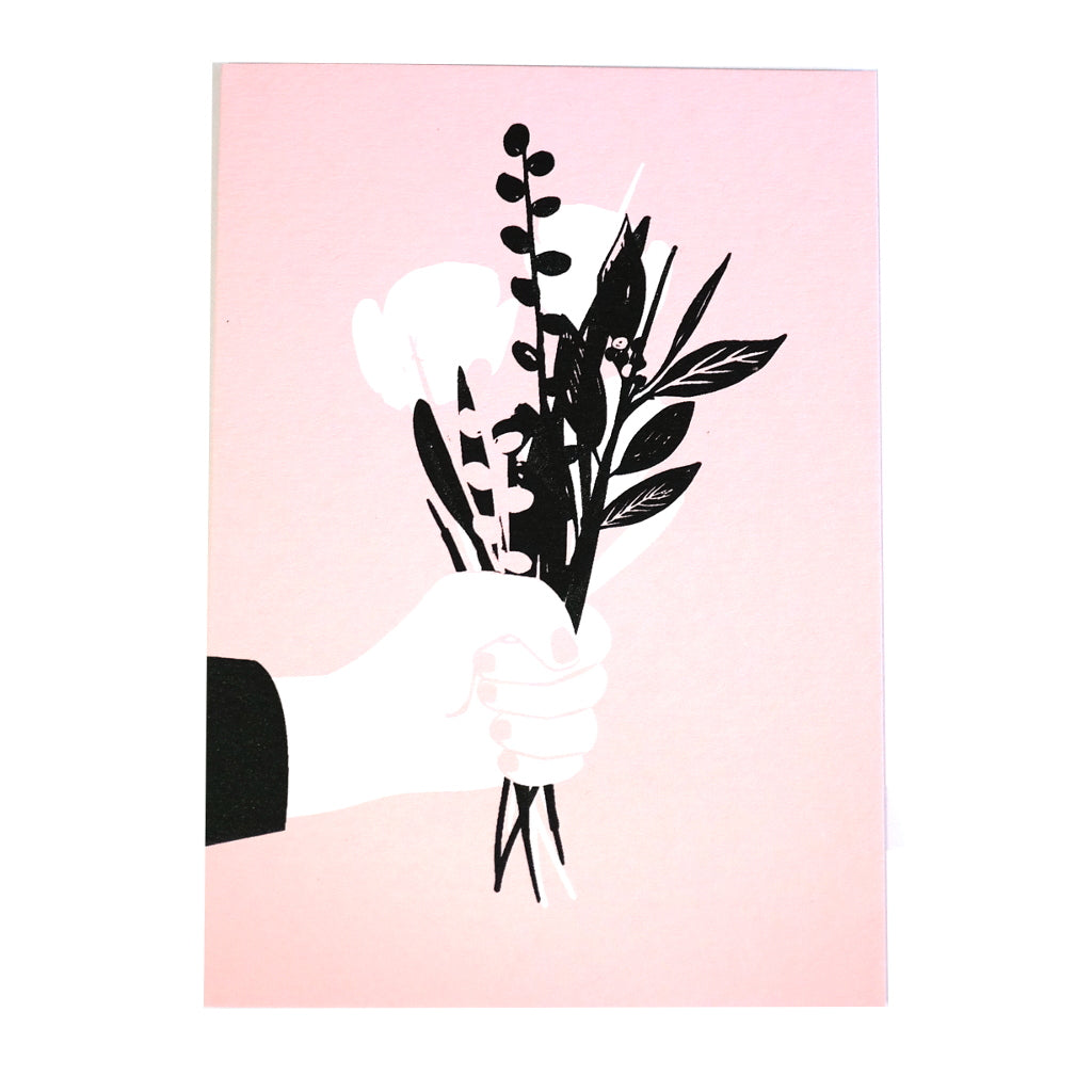 perfect posy floral bouquet pink black and white greetings card