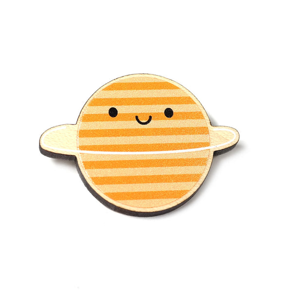 wooden planet brooch with smiley face by asking for trouble