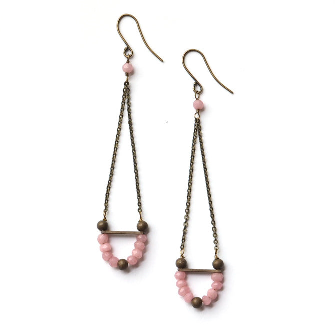 Polar Pull Earrings in Pink Chalcedony