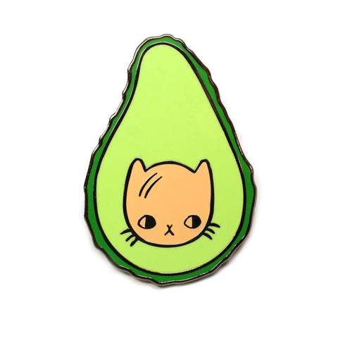 Avocatdo Cat Face in an Avocado quirky cute Enamel Metal Pin Badge