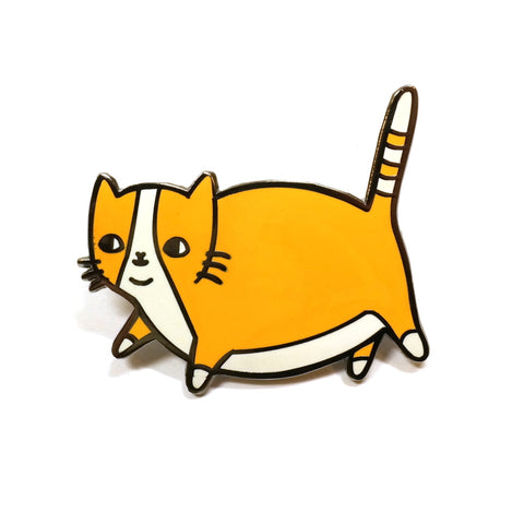 Cute Fatty Catty Fat Ginger Cat Enamel Metal Pin Brooch