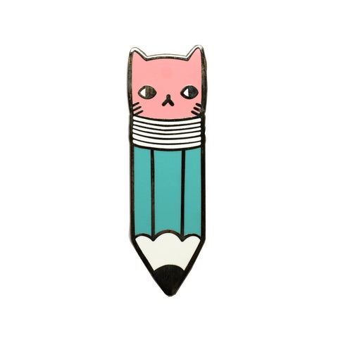 Cute Pencil with Cat Face Eraser Metal Enamel Pin Badge