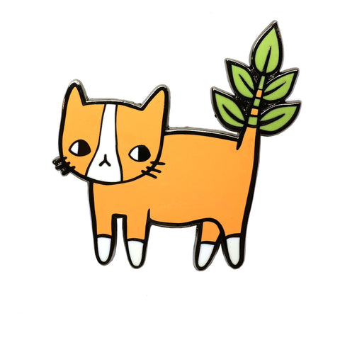 Cute Ginger Cat with Plant Tail Enamel Metal Pin Badge