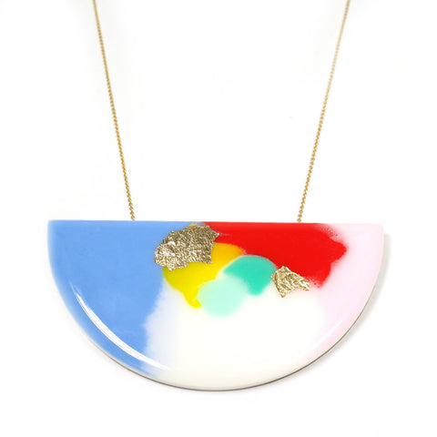 pastel blue pink green red yellow Pop! Art Curve Necklace Jess Collinge