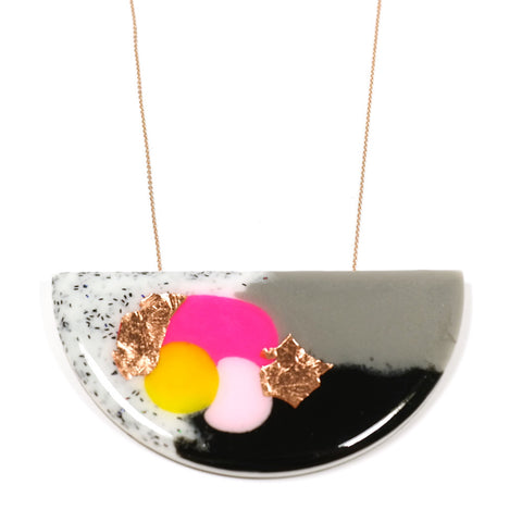 Black Neon Pink Yellow gold leaf Pop! Synth Curve Necklace by Jess Collinge
