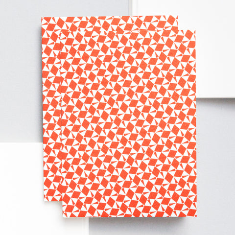 Modern red and white patterned A6 notebook