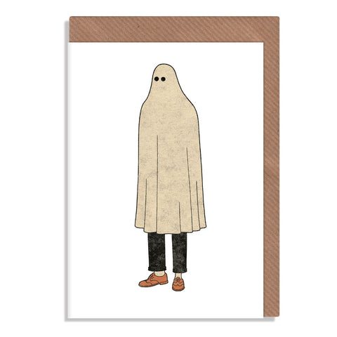 man in ghost outfit sheet blank greeting card