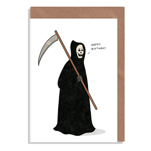 grim reaper happy birthday greetings card illustrated by robbie porter