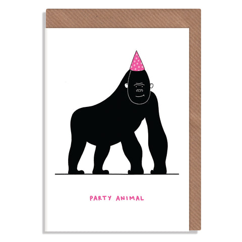 party animal gorilla in pink hat blank greeting card