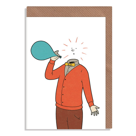 pop balloon head bursting blank greeting card
