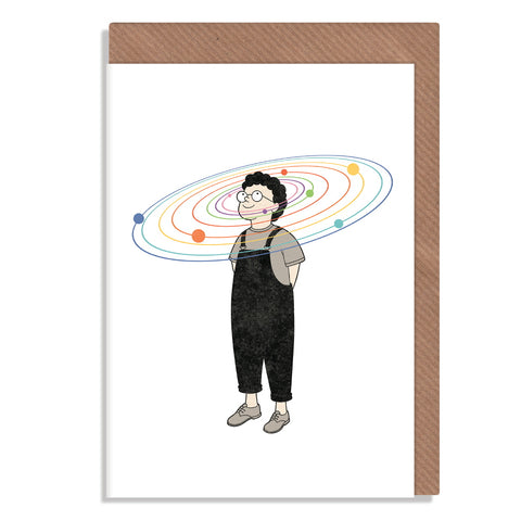 space on the brain planets greetings card