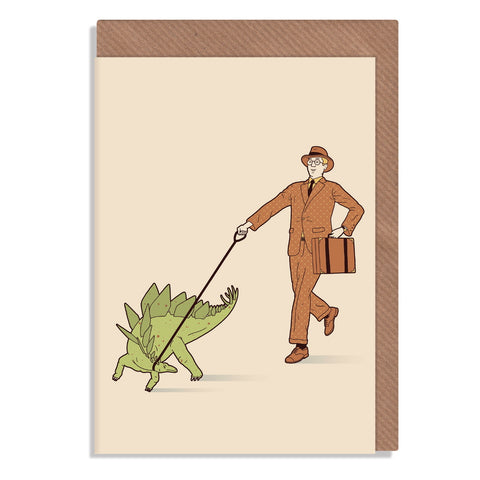 walkies stegasaurus greetings card illustrated by robbie porter