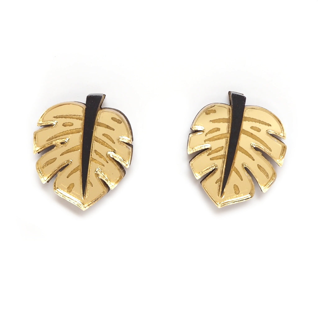 Rosa Pietsch Acrylic Monstera Leaf Stud Earrings in Gold