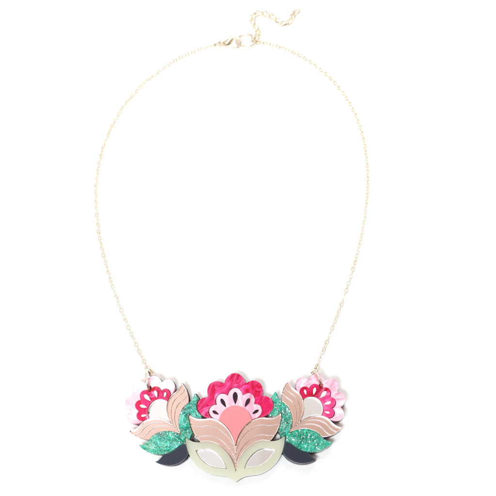 Retro Floral Acrylic Flora Garland Bib Necklace in Pink