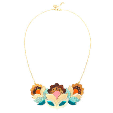 Retro Floral Acrylic Flora Garland Bib Necklace in Tortoiseshell