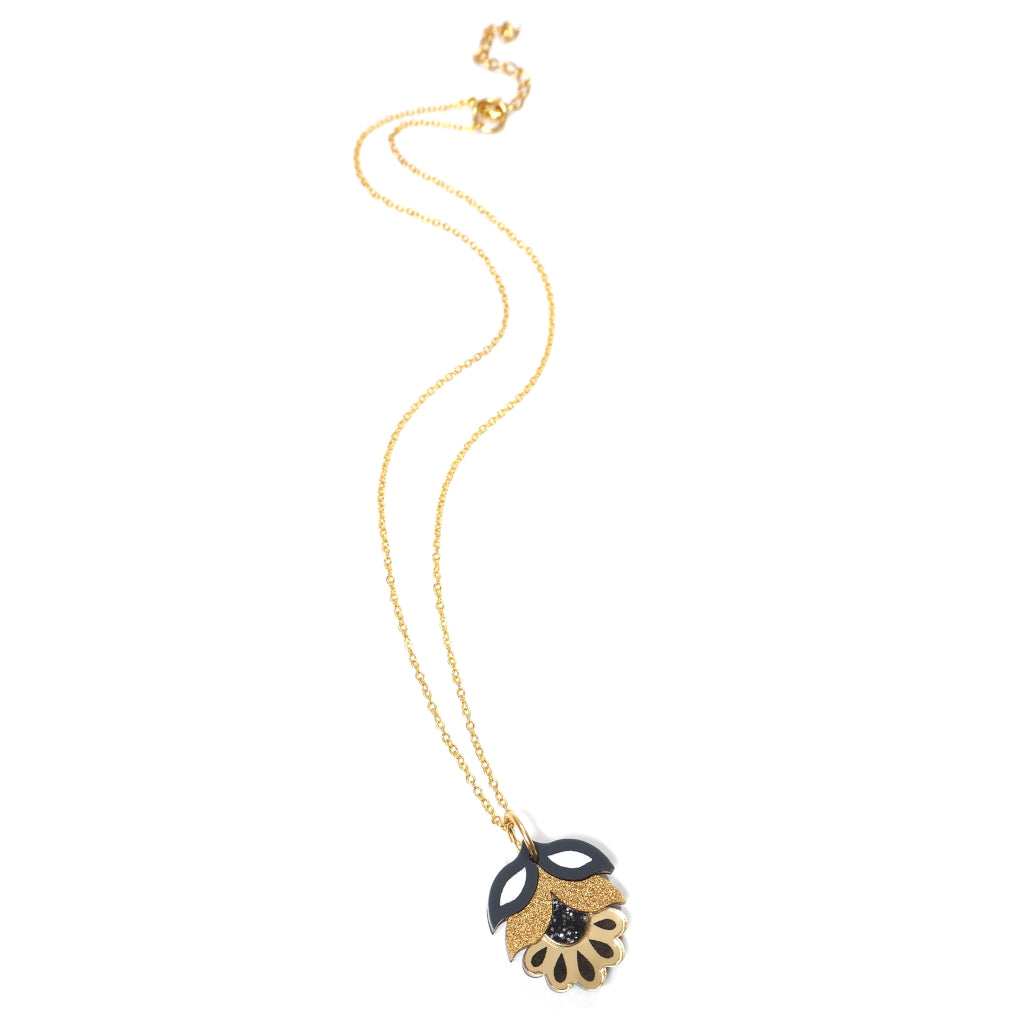 Acrylic Flora Mini Pendant Necklace in Gold
