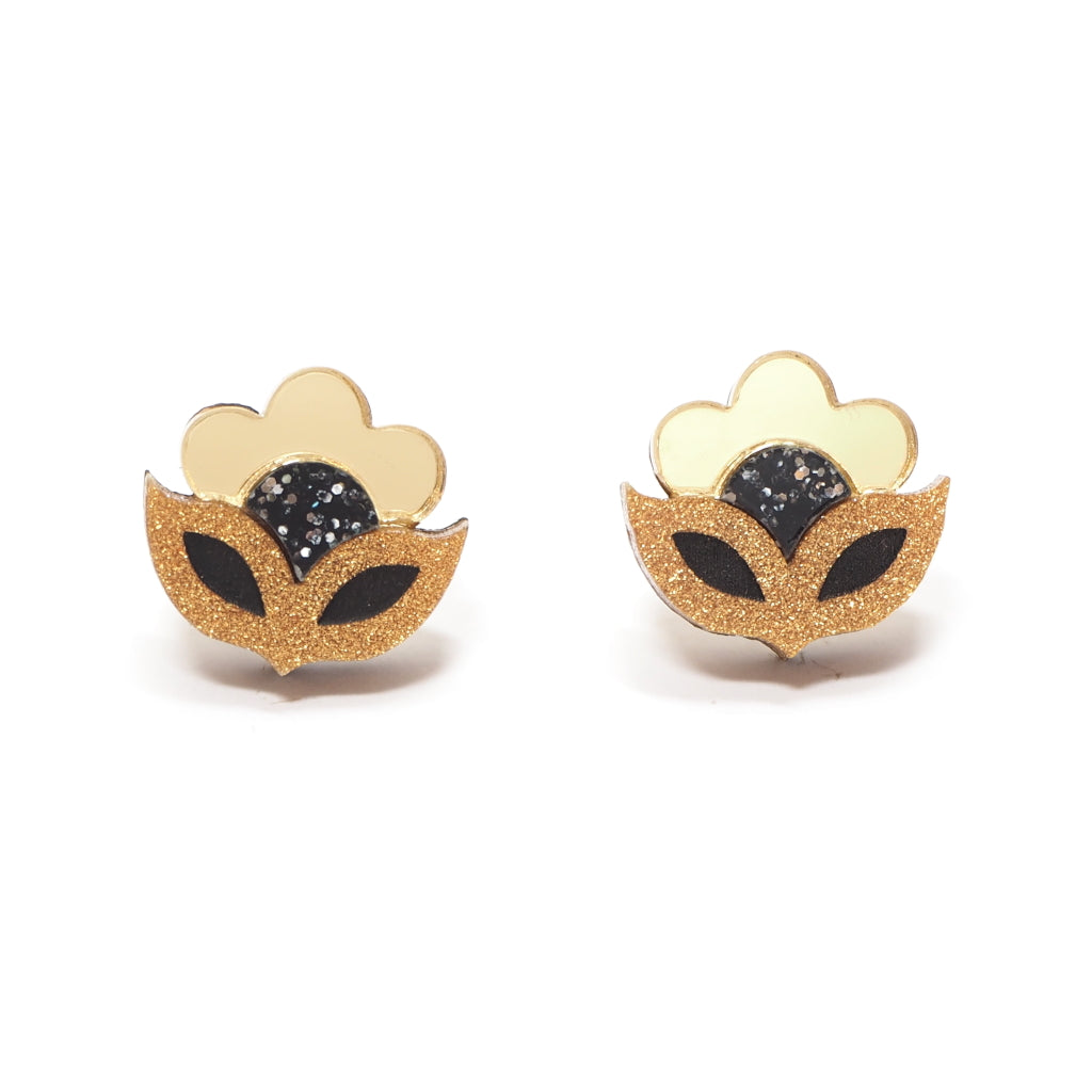 Retro Flower Flora Mini Stud Earrings in Gold Acrylic