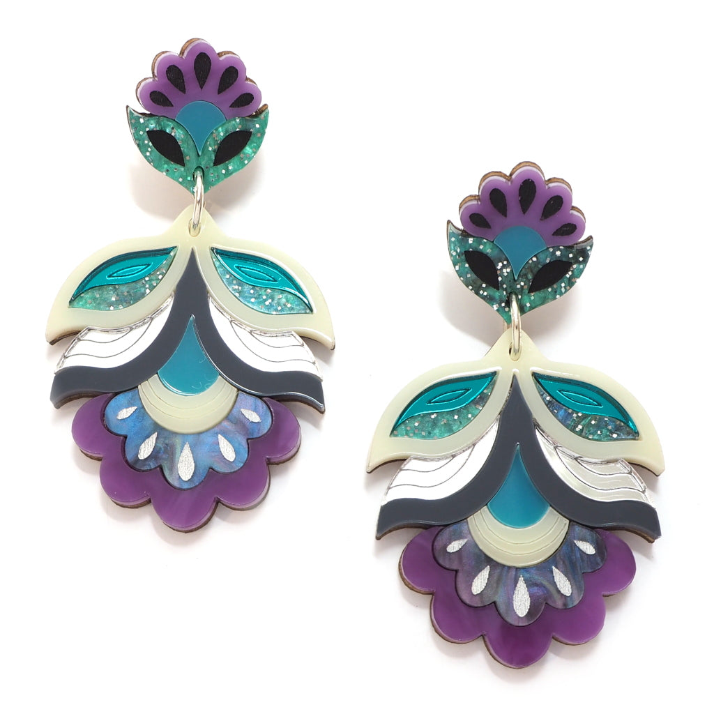 Retro Flower Flora Statement Earrings in Purple Green and Cream