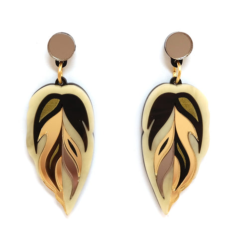 Calathea Leaf Medium Drop Earrings in Gold and Bronze Acrylic