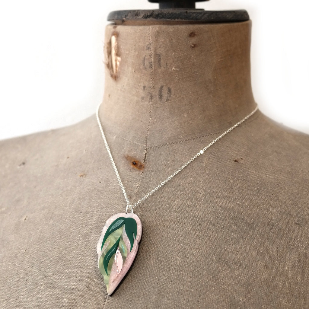Calathea Leaf Pendant Necklace in Rose Acrylic on Mannequin